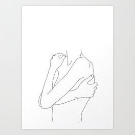 Woman's body line drawing illustration - Dahl Art Print
