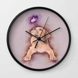 Staffordshire terrier Puppy with Butterfly Wall Clock