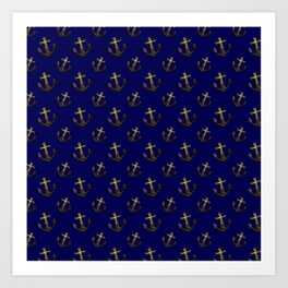 Gold sparkles sparkly anchor pattern navy blue Art Print