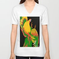rooster V-neck T-shirts featuring Rooster by Saundra Myles