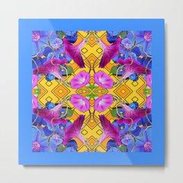 Blue  Patterns Morning Glories & Gold Metal Print