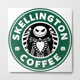 Skellington Coffee Metal Print
