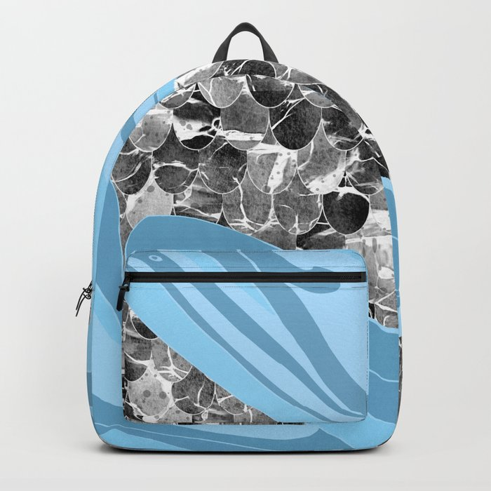 Blue Waves Abstract Mermaid Scales Pattern Backpack