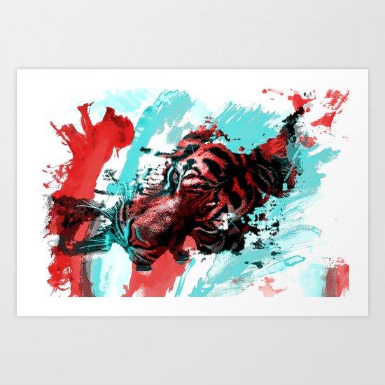 Tiger blue red 4 Art Print