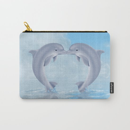 Kissing dolphins Carry-All Pouch