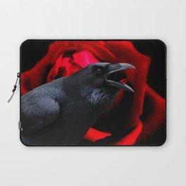 Crow Black Bird Red Rose Flower Gothic Home Decor Fantasy Art A590 Laptop Sleeve