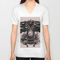 tiki V-neck T-shirts featuring Tiki lunch by CHAUCHE