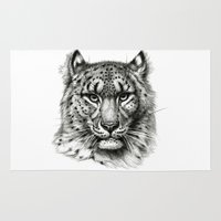 snow leopard Area & Throw Rugs featuring Snow Leopard SK040b schukina by S-Schukina