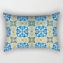 Seamless Floral Pattern Ornamental Tile Design : 6  blue, yellow Rectangular Pillow