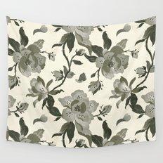 Black Magnolia Pattern Wall Tapestry