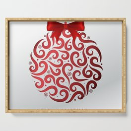 Decorative Christmas Ornament Pattern Serving Tray