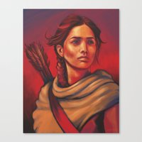 katniss Canvas Prints featuring Katniss by JenHoney