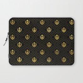 Gold Khanda symbol pattern Laptop Sleeve