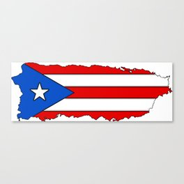 Puerto Rico Map with Puerto Rican Flag Canvas Print