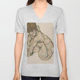Egon Schiele - Crouching Nude Girl Unisex V-Neck