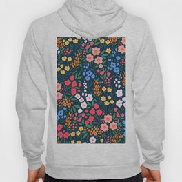 Vintage floral background. Flowers pattern with small colorful flowers on a dark blue background.  Hoody