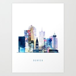 Denver colorful watercolor skyline, Colorado cityscape Art Print