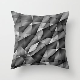Exclusive monochrome pattern of chaotic black and white fragments of glass, metal and ice floes. Throw Pillow