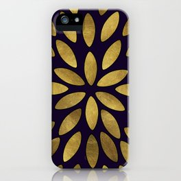 Classic Golden Flower Leaves Pattern iPhone Case