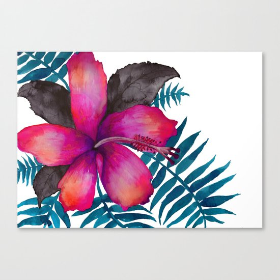 Pink Hibiscus Flower - WHITE Canvas Print
