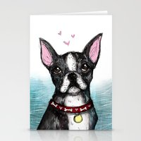 boston terrier Stationery Cards featuring Boston Terrier by Inked in Red
