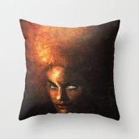 afro Throw Pillows featuring AFRO by John Aslarona