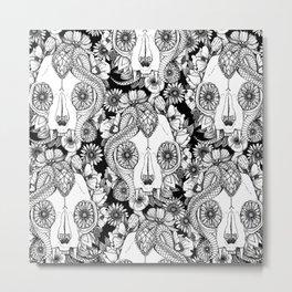 cat skull damask black white Metal Print