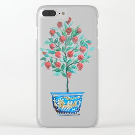 Persephone- Pomegranate Tree on White Clear iPhone Case