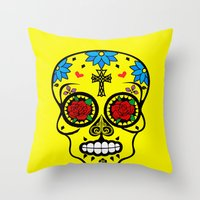 calavera Throw Pillows featuring Calavera by SuperEdu