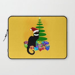 Christmas Le Chat Noir With Santa Hat Laptop Sleeve
