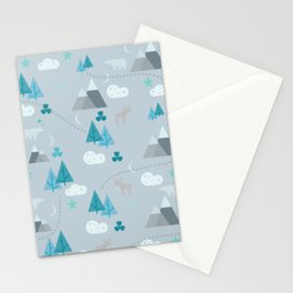 Winter Forest Mountains And Trees Stationery Cards