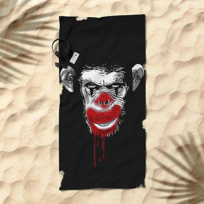 Evil Monkey Clown Beach Towel