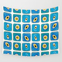 evil eye Wall Tapestries featuring Evil Eye Squares by Katayoon Photography