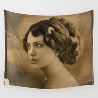 angelina jolie Wall Tapestries featuring Angelina Jolie Vintage ReplaceFace by Maioriz Home