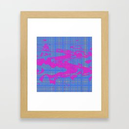 Cool wavy curvy pink shapes on the blue lines background Framed Art Print