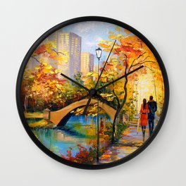 Romantic encounter in new York Wall Clock
