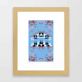 Black and White Queens in Bloom (Sky Blue) Framed Art Print