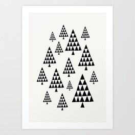 Geometric Christmas Trees 1 Art Print