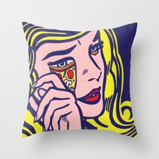 Crying Pizza Girl Throw Pillow
