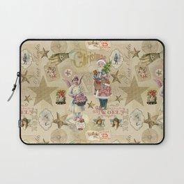 Vintage Christmas Collage Pattern Laptop Sleeve