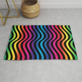 Wiggly Vibrant Multicolour Lines Rug