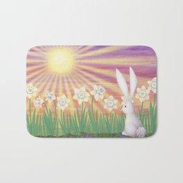 white rabbit in the daffodils Bath Mat