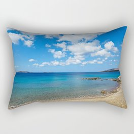 The wonderful beach at Agios Kyprianos in Andros, Greece Rectangular Pillow