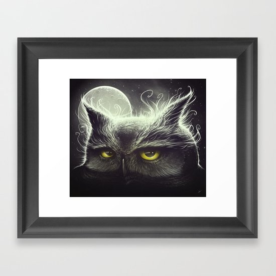 Owl & The Moon Framed Art Print