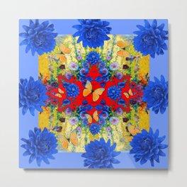 VERY BLUE  FLOWERS YELLOW BUTTERFLIES PATTERN ART Metal Print