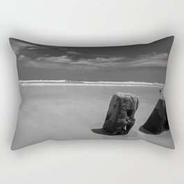 Calm beach on Assateague Island (black and white) Rectangular Pillow