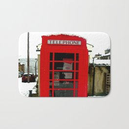 Red Phone Box in the snow - Saltaire Bath Mat