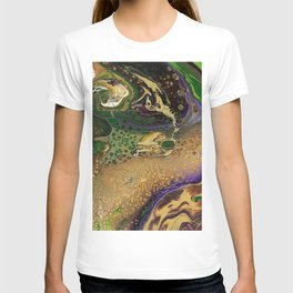 Fluid Gold XII - Abstract, textured, fluid, acrylic painting T-shirt