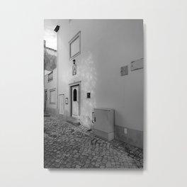 Nazare Front Door BW Metal Print