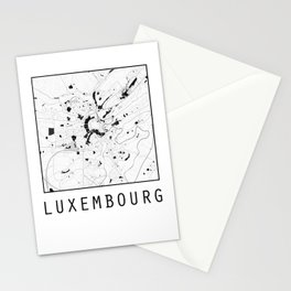 Luxembourg, Luxembourg, city map, Black on White design Stationery Cards